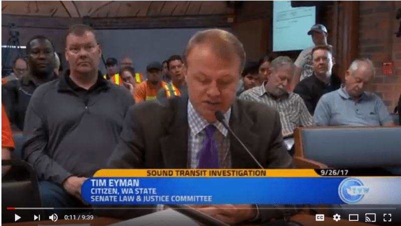 VIDEO: Eyman rakes Sound Transit Industrial Complex at judicial hearing in Kent