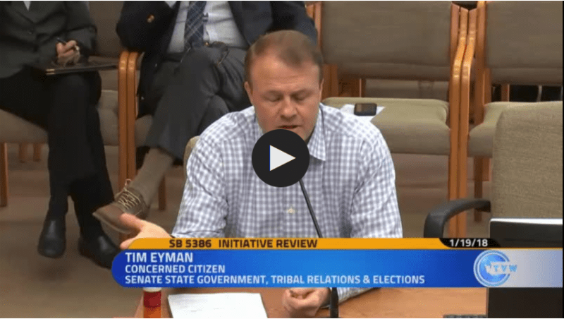 "Eyman infuriates Democrat senators at Friday's hearing with this: ""I really question the motives of the sponsors of this anti-initiative bill"""