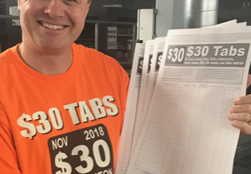 Signature drive for brand new $30 Car Tabs Initiative started on Friday