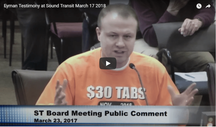 WATCH 1 MINUTE VIDEO: Eyman rips Sound Transit board for ripping off taxpayers!