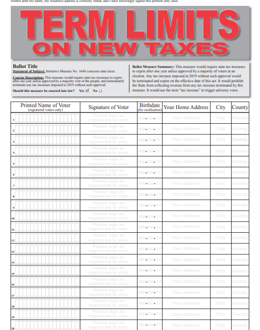 NEW INITIATIVE: Term Limits on New Taxes. What does it do? Initiative 1648 sunsets/expires all 2019 tax hikes!! Deadline for signatures? July 5