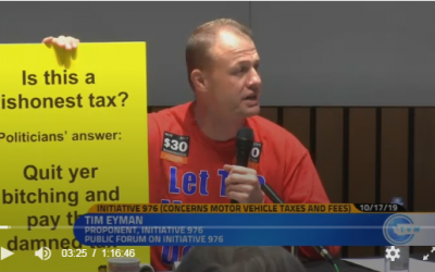 "Watch tonight's I-976 debate online. ""Is this a dishonest tax? Politicians answer: ""Quit yer bitching and pay the damned tax."" Pigs are gonna be squealin' 2nite!!"