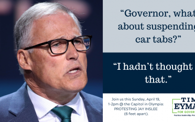 """$30 TABS UPDATE: Inslee was asked, """"What about suspending car tabs?"""" His response will infuriate you."""
