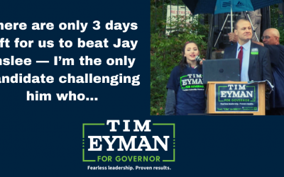 There are only 3 days left for us to beat Jay Inslee — I'm the only candidate challenging him who…