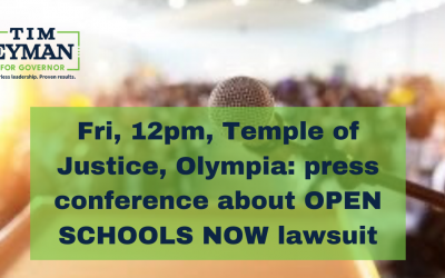 Join me Fri, 12pm, Temple of Justice, Olympia: press conference about OPEN SCHOOLS NOW lawsuit. Chance to hear from parent plaintiffs, attorney Joel Ard, Rep. Jim Walsh, me, and others. Everyone is welcome.