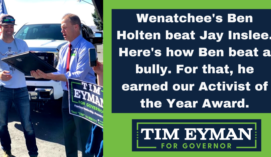 "Wenatchee trip highlighted by ""Activist of the Year"" award going to Ben Holten who beat Jay Inslee with his #LetUsFish rallies."