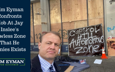 Tim Eyman Confronts Mob At Jay Inslee's Lawless Zone That He Denies Exists