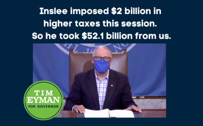 WATCH ME ON FACEBOOK LIVE TONIGHT 6PM — lots to talk about. Inslee imposed $2 billion in higher taxes this session. So he took $52.1 billion from us.