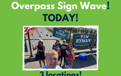 Join me/us today in Everett for sign-waving (3-6pm). Election day (Bellevue) & Election night (Kenmore). Fire Inslee, hire Eyman for Governor.