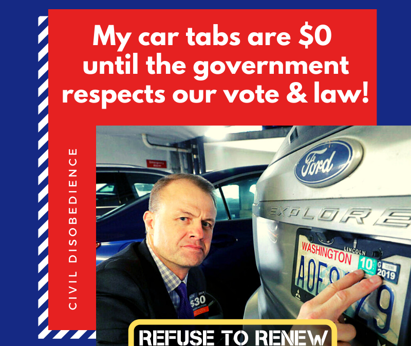 My car tabs are 22 months overdue — join me in refusing to renew until they respect our vote.